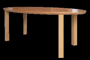Meubeldesign, ovale eettafel, beukenhout, met minimaal design onderstel